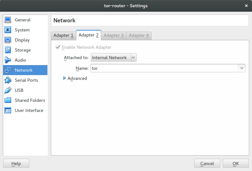 tor router network settings